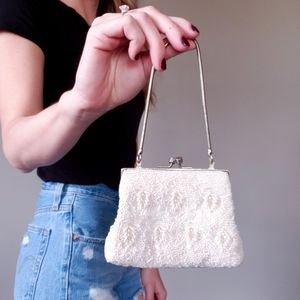Vintage Beaded Evening Bag Off-White Clutch